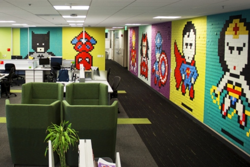 8-Bit Superhero Mural Constructed Out of 8,024 Sticky Notes