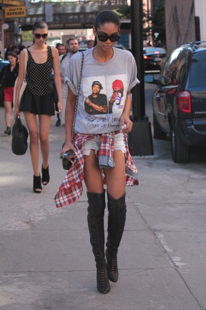Chanel Iman walking after a fashion show.