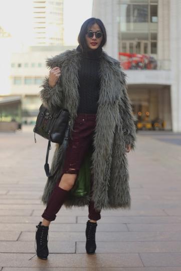 Grey Fur Burgundy Pant