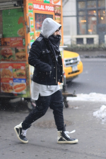 Rick Owens on a snowy day in Soho, New York.
