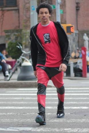 wearing Faded NYC jogger pants.